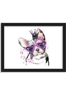 Quadro Decorativo Bulldog Princesa Rosa Pink Preto - Grande