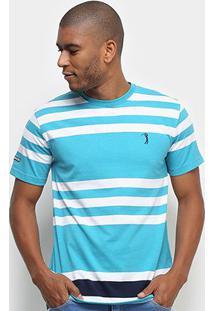 Camiseta Aleatory Fio Tinto Listras Masculina - Masculino-Verde Claro+Branco