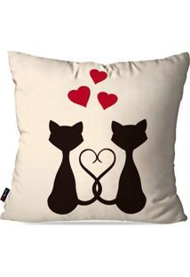 Capa De Almofada Decorativa Dia Dos Namorados Gatos Love 45X45Cm