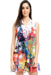 Vestido Chemise 101 Resort Wear Evasê Crepe Babados Renda Pala Rio Vermelho