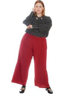 Calça Plus Size Pantacourt Maxi Marsala Feminina - Feminino-Vinho
