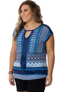 Blusa Femina Plus Size Decote V Azul