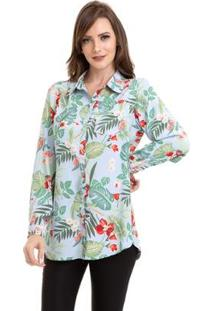 Camisa Kinara Crepe Floral Feminina - Feminino-Azul