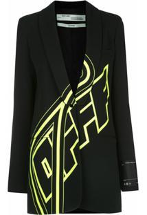 Off-White Blazer Oversized Com Logo - Preto