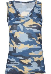 Regata Le Lis Blanc Camuflada I Malha Estampado Feminina (Camuflado Blue, Gg)