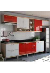 Cozinha Completa Com Tampo 10 Portas 5801 Argila/Branco/Vermelho - Multimóveis