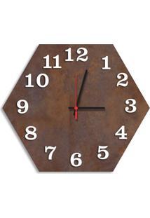 Relógio De Parede Decorativo Premium Hexagonal Corten Com Números Em Relevo Médio