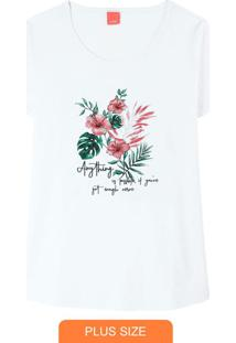 Blusa Branca Anything Floral Em Malha