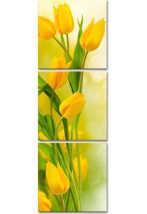 Quadro Oppen House 150X50Cm Tulipas Amarelas Flores Decorativo Interiores