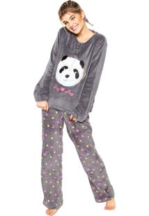Pijama Any Any Soft Panda Cinza