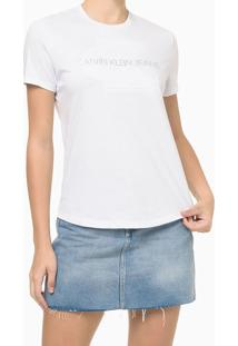 Blusa Básica Slim Embossed Branca Calvin Klein Jeans - P