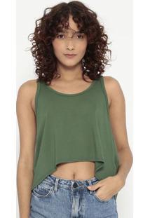 Blusa Lisa Com Recortes- Verde- Sommersommer