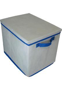 Caixa Organizadora Com Tampa E Alça 28X31X38Cm Organibox Bege/Azul