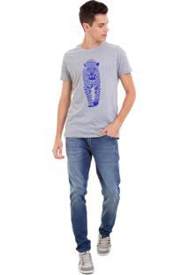 Camiseta Masculina Joss Onça Azul Cinza