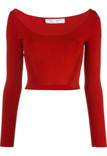 Proenza Schouler White Label Wide Scoop-Neck Knit Top - Vermelho