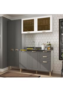 Cozinha Completa 3 Peã§As Americana Multimã³Veis 5673 Branco/Grafite - Branco/Incolor - Dafiti