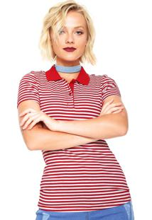 Camisa Polo Hering Listrada Vermelha/Branca