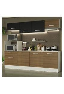 Cozinha Completa Madesa Onix 240002 Com Armário E Balcáo - Branco/Rustic/Preto 097K Branco
