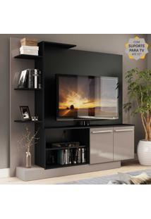 Estante Home Theater Com Suporte Para Tv Atã© 55'' Denver Multimã³Veis Preto/Lacca Fum㪠- Incolor - Dafiti