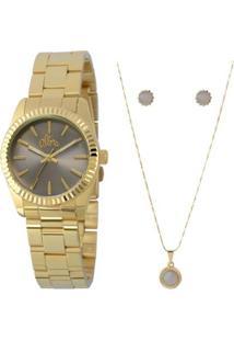 Kit Relógio Allora Feminino - Feminino-Dourado