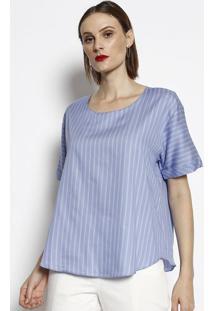Blusa Ampla Listrada - Azul & Cinza- Cotton Colors Ecotton Colors Extra