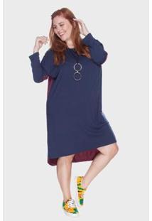 Vestido Bold Mullet Plus Size Feminino - Feminino-Marinho