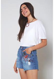 Short Jeans Bordado Paetê Jeans Oh, Boy! Feminino - Feminino