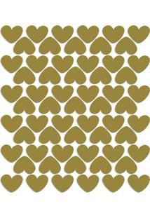 Adesivo De Parede Infantil Corações Dourados 55Un