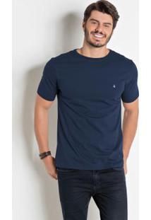 Camiseta Básica Com Detalhe Bordado Marinho