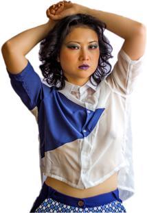Camisa Muká Transparente Com Recorte Geométrico Branca