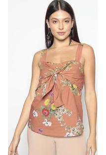 Blusa Floral Com Amarraã§Ã£O- Marrom Claro & Amarela- Colcci