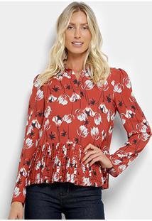Camisa Manga Longa My Favorite Thing(S) Estampada Floral Feminina - Feminino-Vermelho