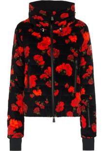Moncler Grenoble Vonne Floral Print Feather Down Puffer Jacket - Preto