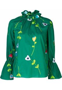 Cynthia Rowley Blusa Aurelia Com Bordado - Verde