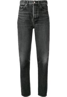 Saint Laurent Calça Jeans Slim De Cintura Alta - Preto