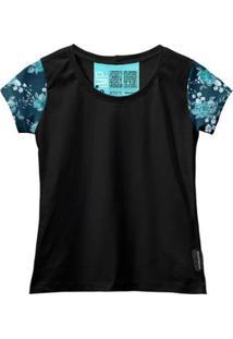 Camiseta Baby Look Feminina Algodão Estampa Flor Manga Curta - Feminino-Azul+Preto