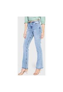 Calça Jeans Dzarm Flare Recortes Azul