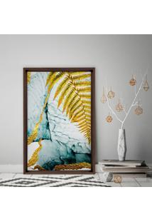 Quadro Love Decor Com Moldura Chanfrada Folha Dourada Madeira Escura - Médio