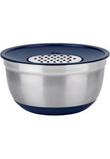 Bowl Com Ralador German- Inox & Azul- 13Xã˜24Cm- Euro Homeware