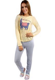 Pijama Longo Feminino Estampa Lhama Com Algodão Adulto