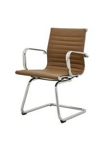 Cadeira Sevilha Eames Fixa Cromada Pu Marrom Escuro - 38230 Marrom Escuro
