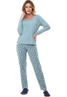 Pijama Longo Feminino Adulto Com Poliamida Luna Cuore