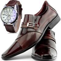 cffba2e68c Kit Sapato Social Verniz Com Relógio Gofer 0701L Vinho