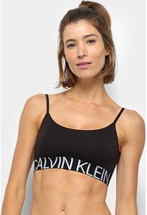 Sutiã Calvin Klein Top Reversível Statement - Feminino-Preto