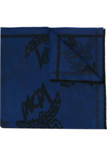 Mcm Echarpe Com Estampa De Logo - Azul