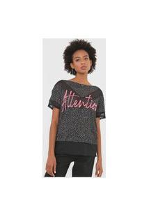 Camiseta My Favorite Thing(S) Attention Estampada Preta/Rosa