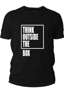 Camiseta Criativa Urbana Think Outside The Box Preta