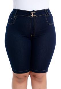 Bermuda Plus Size Soft Jeans Pedalete Jeans Escuro