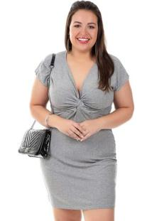Vestido Plus Size Cinza Cativa Mais