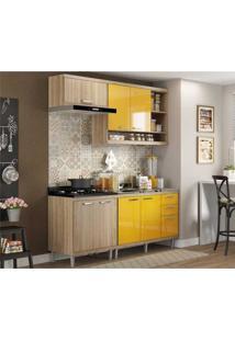 Cozinha Compacta Completa Multimóveis Com 4 Peças Sicília 5810 Argila/Amarelo